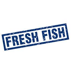 Square grunge blue fresh fish stamp vector