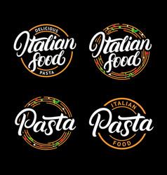 Set of italian food and pasta hand written vector
