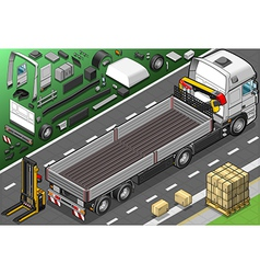 Isometric pick up truck in rear view vector