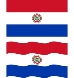 Flat and waving Paraguayan Flag vector image