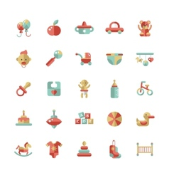 Set of flat design pastel cute baby icons vector