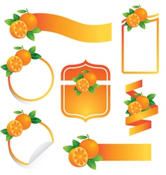 Orange label set vector