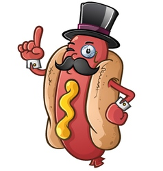 Hot dog gentleman cartoon character vector
