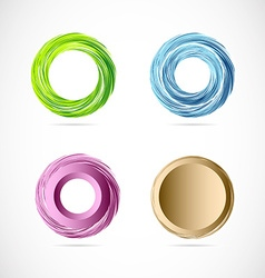 Circle whirl logo icon element set vector