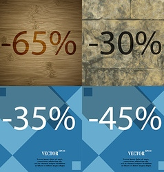 30 35 45 icon set of percent discount on abstract vector