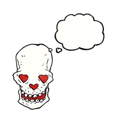 Cartoon skull with love heart eyes with thought vector