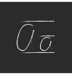 Cursive letter a icon drawn in chalk vector