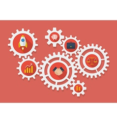 Business icons in gears vector