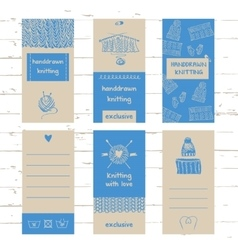 Set of labels for knitwear and wool vector