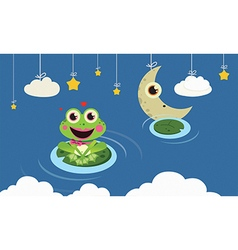Frog in the night vector
