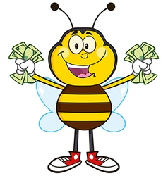 Bumble bee cartoon with cash vector