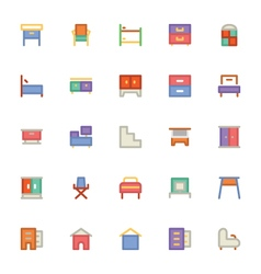 Building and furniture icons 9 vector