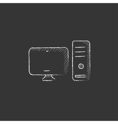 Cpu and monitor drawn in chalk icon vector