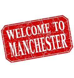 Welcome to manchester red square grunge stamp vector