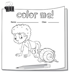 A worksheet showing a boy and a snail vector image vector image