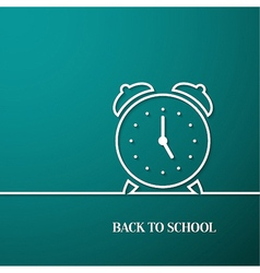 Back to school card with paper alarm clock vector image