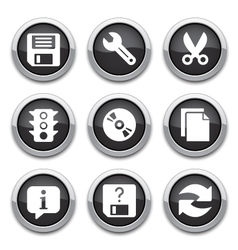 black basic application buttons vector image