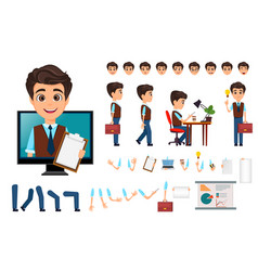character creation set young business man with vector image