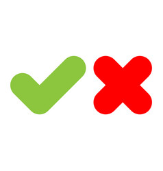 check mark icons green tick and red cross flat vector image