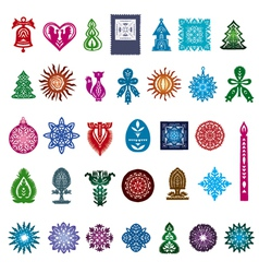 Collection of icons of silhouettes from paper vector