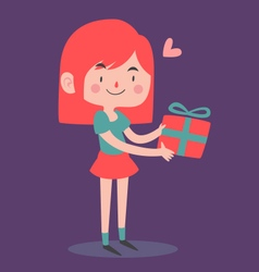 Cute Girl Holding a Wrapped Present vector image vector image