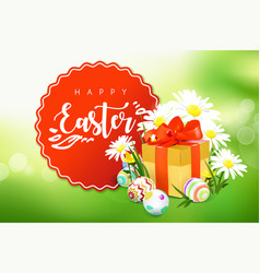 Easter card with gift box eggs and flowers vector