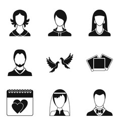 family relation icons set simple style vector image vector image
