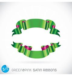 Green Pink Satin Ribbons vector image vector image