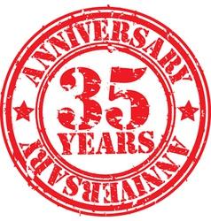 Grunge 35 years anniversary rubber stamp vector