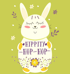 happy easter retro card with rabbit eggs flowers vector image vector image