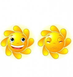happy sun and sad sun vector image