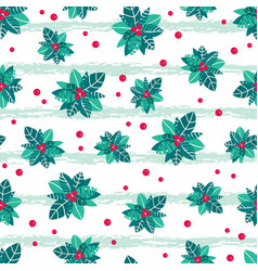 holly berry grunge stripes holiday seamless vector image vector image