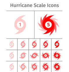 hurricane scale icons vector image vector image