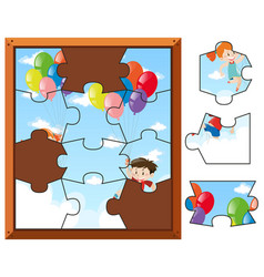jigsaw puzzle pieces of kids flying with balloons vector image
