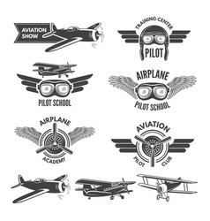 labels set with of vintage airplanes vector image