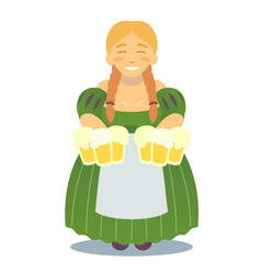 Logo - cute blonde girl in traditional dress with vector