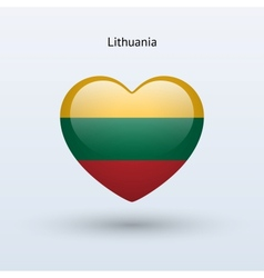 Love Lithuania symbol Heart flag icon vector image vector image