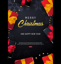 Marry christmas and happy new year poster on red vector