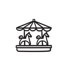 Merry-go-round sketch icon vector