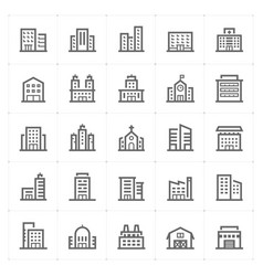 mini icon set - building icon vector image vector image