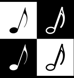 Music note sign black and white icons and vector