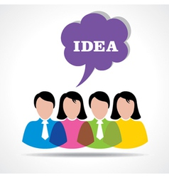 People team with idea message bubble vector