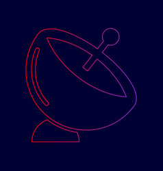 Satellite dish sign line icon with vector