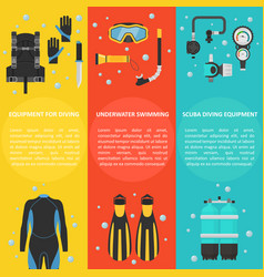 scuba diving with a vertical banner vector image