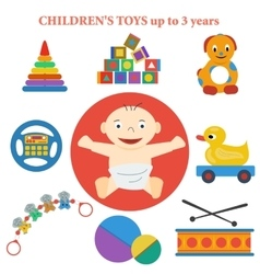 set of icons of childrens toys vector image