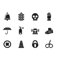 Silhouette Surveillance and Security Icons vector image