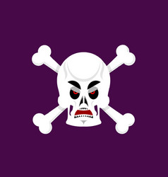 Skull and crossbones angry emoji skeleton head vector
