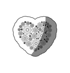 Sticker silhouette heart shape with pinions and vector