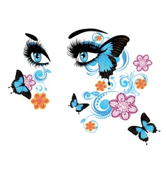 Summer Eyes with Floral2 vector image vector image