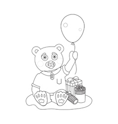 Toy bear with present boxes and baloon Coloring vector image